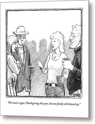 Two Couples Converse At A Party Metal Print by Matthew Diffee