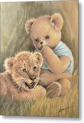 Metal Print featuring the drawing Two Cubs by Ethel Quelland