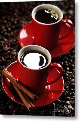 Two Cups Of Coffe On Coffee Beans Metal Print by Oleksiy Maksymenko