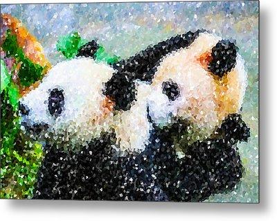 Two Cute Panda Metal Print by Lanjee Chee