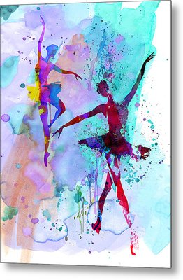 Two Dancing Ballerinas Watercolor 2 Metal Print by Naxart Studio
