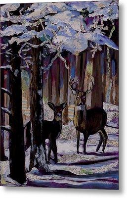 Two Deer In Snow In Woods Metal Print