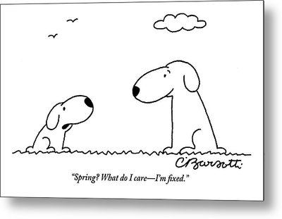Two Dogs Are Seen Talking To Each Other Metal Print by Charles Barsotti