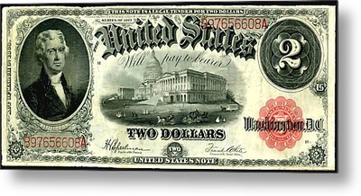 Two Dollar 1917 United States Note Fr60 Metal Print by Lanjee Chee