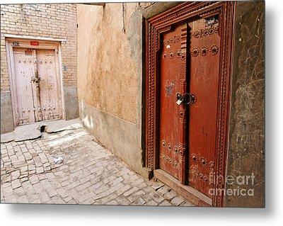 Two Doors In The Old Town Of Kashgar Metal Print