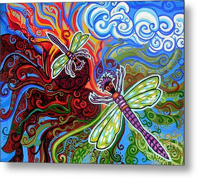 Two Dragonflies Metal Print by Genevieve Esson