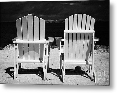 Two Empty Sun Loungers On Private Beach Islamorada Florida Keys Usa Metal Print by Joe Fox