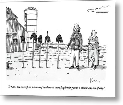 Two Farmers Stand Next Two Five Dead Crows Metal Print