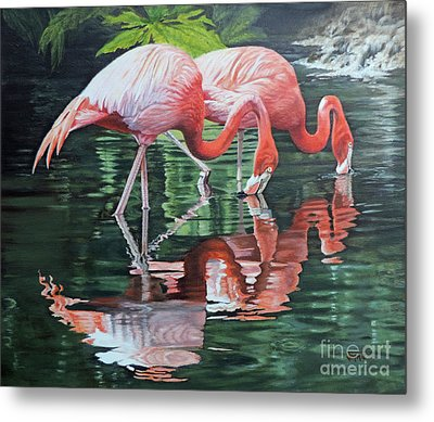 Metal Print featuring the painting Two Flamingos by Jimmie Bartlett
