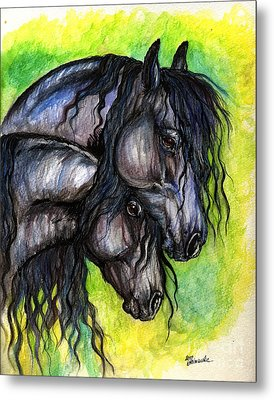 Two Fresian Horses Metal Print by Angel  Tarantella