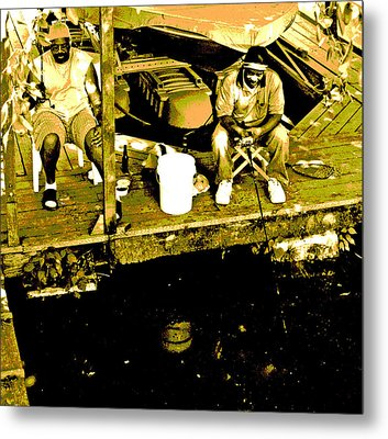 Two Friends Fishing Metal Print by Joseph Coulombe