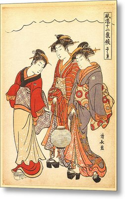 Two Geisha Preceded By A Maid Carrying A Lantern Metal Print