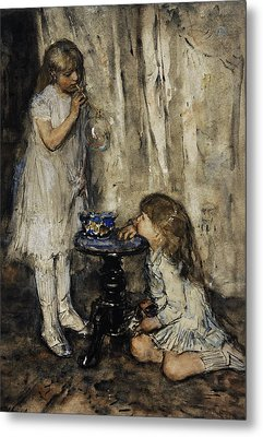 Two Girls Blowing Bubbles Metal Print