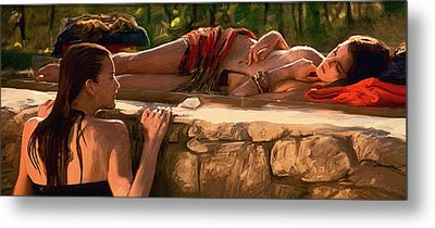 Two Girls By The Pool Metal Print by Dominique Amendola