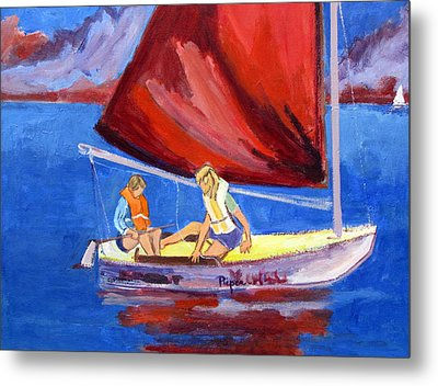 Two Girls Set To Sail With Red Sail Metal Print by Betty Pieper