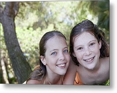 Two Girls Smiling Metal Print