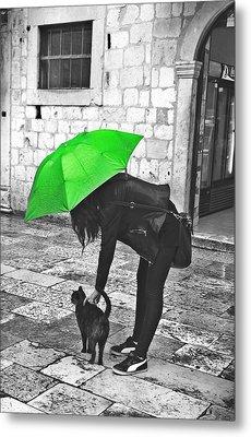 Two Girls Under Umbrella Metal Print