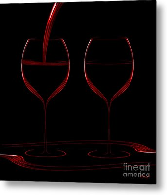 Two Glass Red Metal Print by Johnny Hildingsson