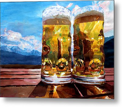 Two Glasses Of Beer With Mountains Metal Print by M Bleichner