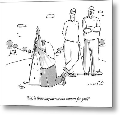 Two Golfers Speak To A Man Metal Print by Michael Crawford