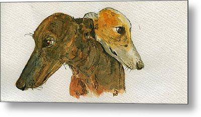 Two Greyhounds Metal Print by Juan  Bosco