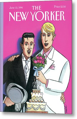 Two Grooms At Their Wedding Infront Metal Print