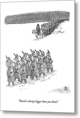 Two Groups Of Army Troops Walk In Opposite Metal Print by Paul Noth