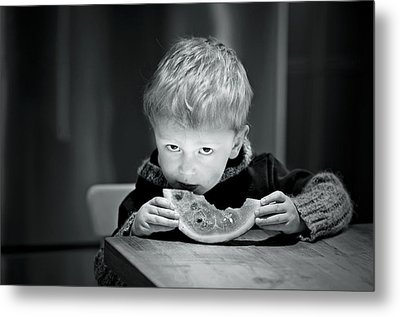 Two Hands And A Slice Of Adorable Metal Print by Valerie Rosen