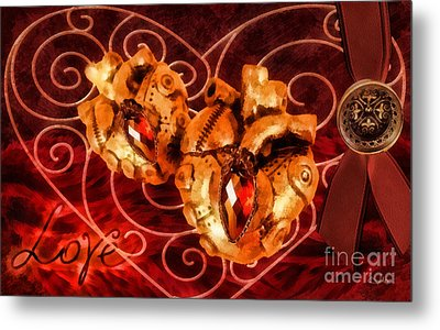 Two Hearts Metal Print by Mo T