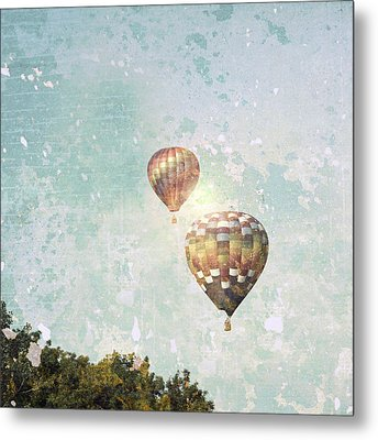 Metal Print featuring the photograph Two Hot Air Balloons by Brooke T Ryan