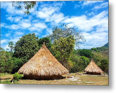Two Indigenous Huts Metal Print