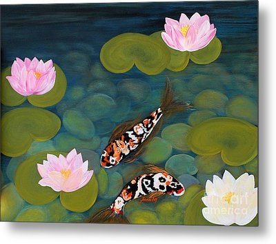 Two Koi Fish And Lotus Flowers Metal Print