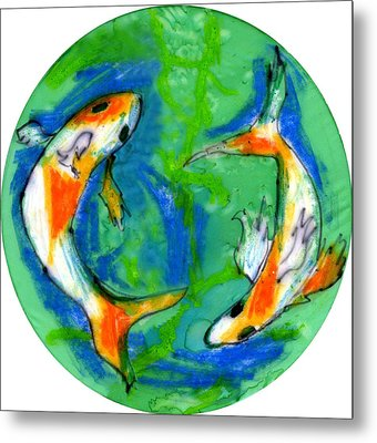 Two Koi Fish Metal Print by Genevieve Esson