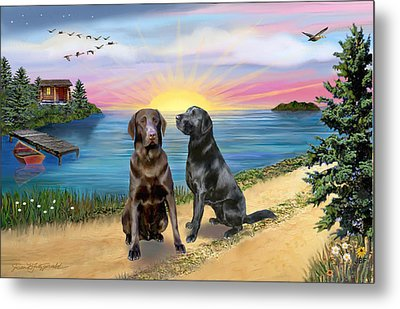 Two Labs At The Lake Metal Print by Jean B Fitzgerald