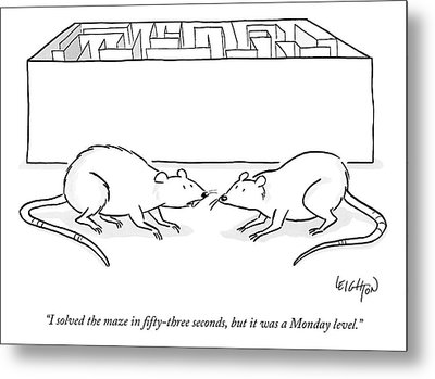 Two Labs Rats Speak Outside A Maze Metal Print