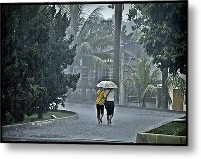 Two Ladies With One Umbrella Metal Print by Achmad Bachtiar