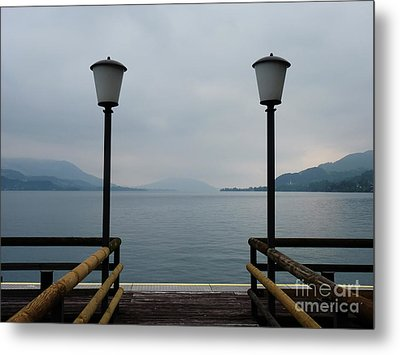 Metal Print featuring the photograph Two Lanterns At The Jetty Pier Of Lake Attersee by Menega Sabidussi