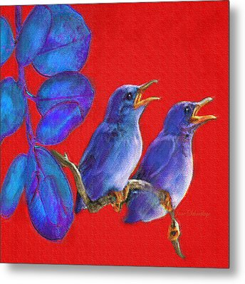 Two Little Birds In Red Metal Print