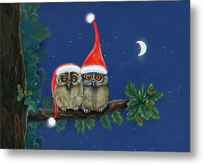 two little owls with Christmas caps Metal Print by Marina Durante