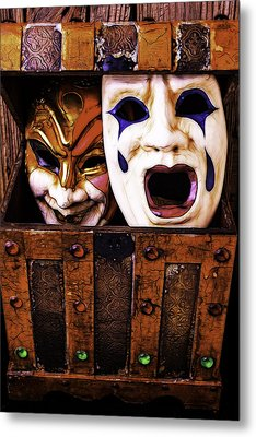 Two Masks In Box Metal Print by Garry Gay