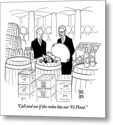 Two Men In A Wine Cellar Find A Clown In One Metal Print by Paul Noth
