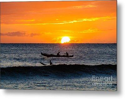 Two Men Paddling A Hawaiian Outrigger Canoe At Sunset On Maui Metal Print