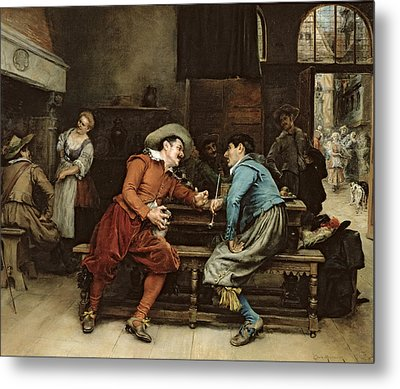 Two Men Talking In A Tavern Metal Print by Jean Charles Meissonier