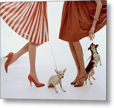 Two Models With Dogs Metal Print