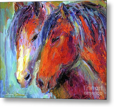 Two Mustang Horses Painting Metal Print by Svetlana Novikova