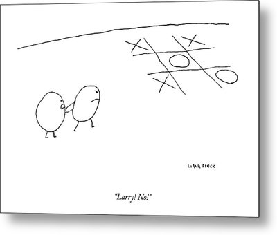 Two O-characters Stand By A Game Of Tic-tac-toe Metal Print