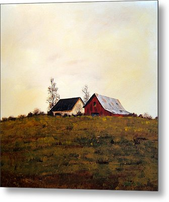 Metal Print featuring the painting Two On A Hill by William Renzulli