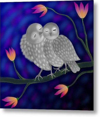 Two Owls Metal Print by Latha Gokuldas Panicker
