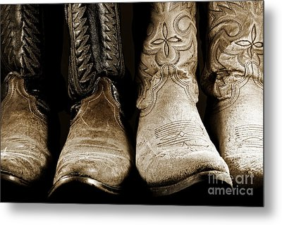 Two Pair Of Cowboy Boots Are Better Than One Metal Print by Lincoln Rogers