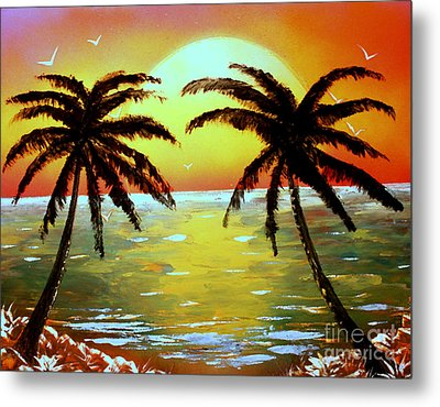 Metal Print featuring the painting Two Palms by Greg Moores